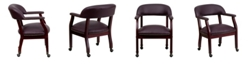 Flash Furniture Burgundy Top Grain Leather Conference Chair With Accent Nail Trim And Casters